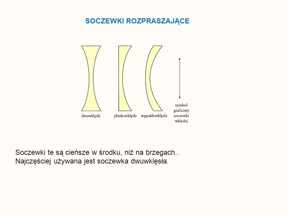 SOCZEWKI ROZPRASZAJĄCE Soczewki te są cieńsze w środku, niż na brzegach.. Najczęściej używana jest soczewka dwuwklęsła.