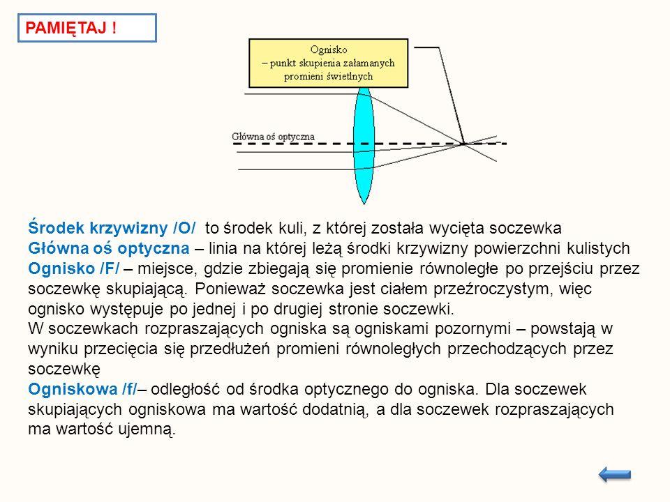 PAMIĘTAJ ! Środek krzywizny /O/ to środek kuli, z której została wycięta soczewka Główna oś optyczna – linia na której leżą środki krzywizny powierzch
