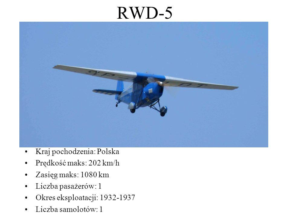 RWD-5 Kraj pochodzenia: Polska Prędkość maks: 202 km/h Zasięg maks: 1080 km Liczba pasażerów: 1 Okres eksploatacji: 1932-1937 Liczba samolotów: 1