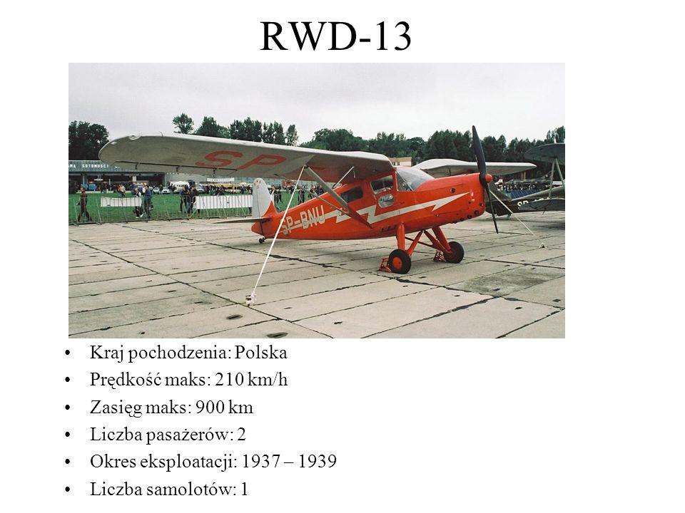 RWD-13 Kraj pochodzenia: Polska Prędkość maks: 210 km/h Zasięg maks: 900 km Liczba pasażerów: 2 Okres eksploatacji: 1937 – 1939 Liczba samolotów: 1