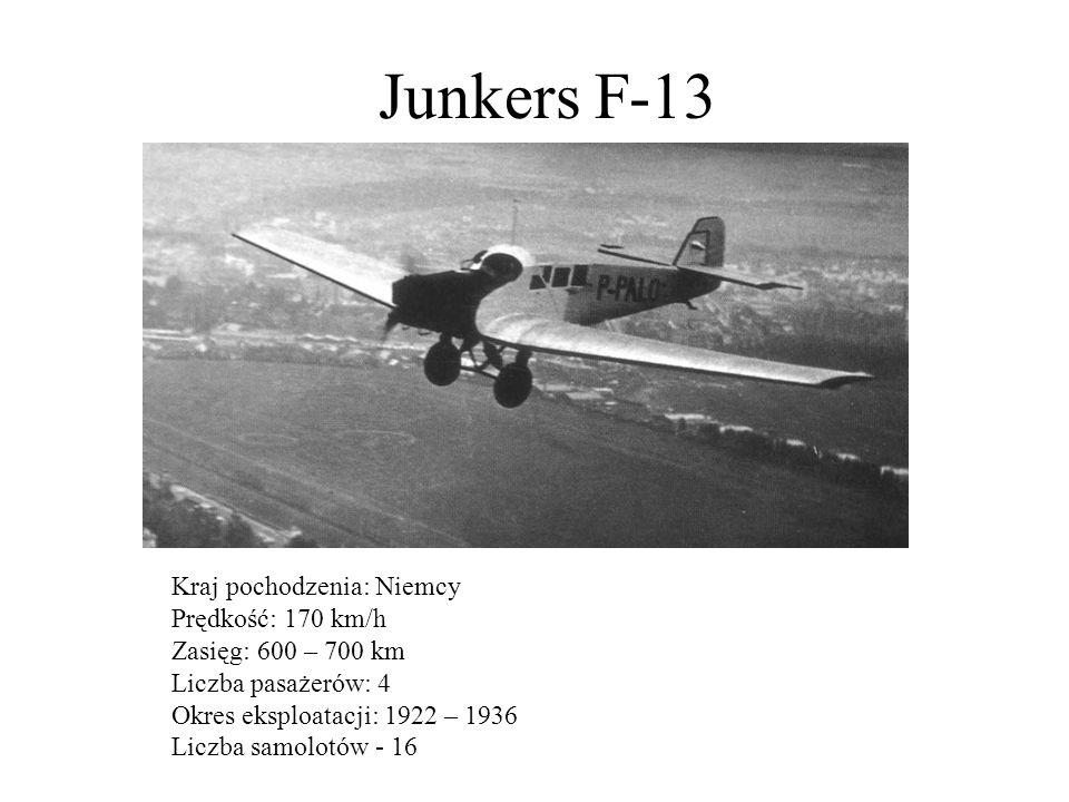 Junkers F-13 Kraj pochodzenia: Niemcy Prędkość: 170 km/h Zasięg: 600 – 700 km Liczba pasażerów: 4 Okres eksploatacji: 1922 – 1936 Liczba samolotów - 1