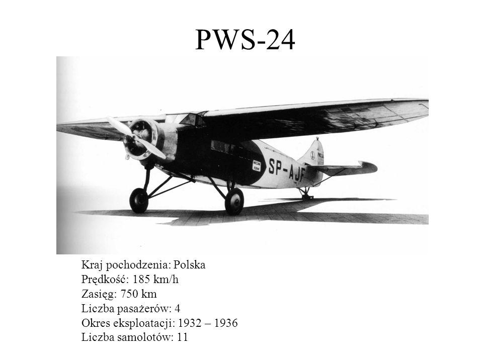 Douglas DC-2 Kraj pochodzenia: USA Prędkość: 330 km/h Zasięg: 1770 km Liczba pasażerów: 14 Okres eksploatacji: 1935 – 1939 Liczba samolotów: 2