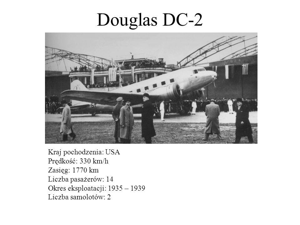 Lockheed L-10A Electra Kraj pochodzenia: USA Prędkość: 320 km/h Zasięg: 1140 km Liczba pasażerów: 10 Okres eksploatacji: 1936 – 1939 Liczba samolotów: 10