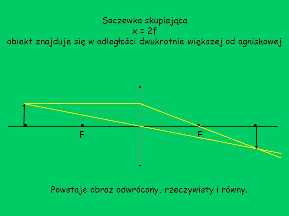 Soczewka skupiająca x = 2f obiekt znajduje się w odległości dwukrotnie większej od ogniskowej FF Powstaje obraz odwrócony, rzeczywisty i równy.