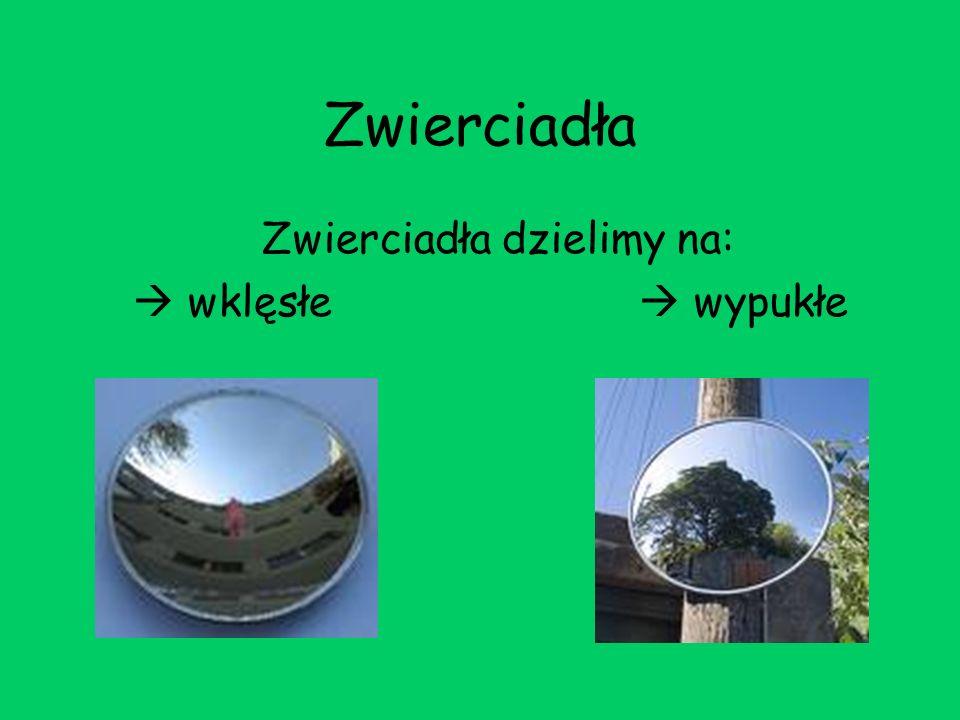 Zwierciadła Zwierciadła dzielimy na: wklęsłe wypukłe