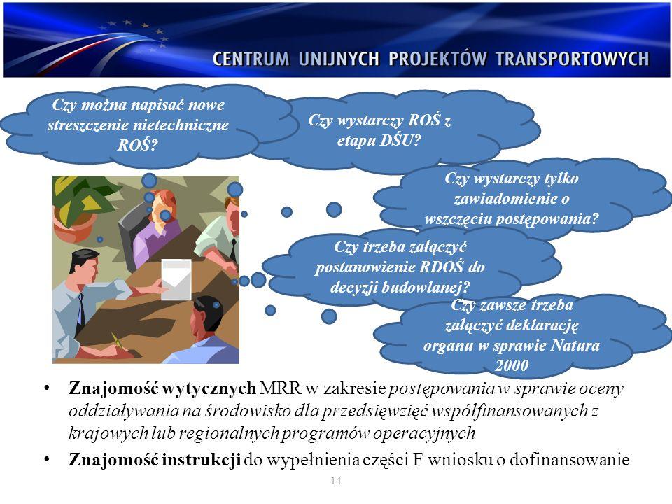 Wszystkie decyzje uzyskane w ramach projektu (lokalizacyjne, środowiskowe, budowlane) Raport (Raporty) o oddziaływaniu przedsięwzięcia na środowisko (jeżeli był wymagany) Wyniki konsultacji z właściwymi organami administracji publicznej (uzgodnienia, opinie...) Dokumentacja z konsultacji społecznych (wszystkie obwieszczenia, zawiadomienia, protokoły z rozpraw administracyjnych) Wymagane dokumenty 15