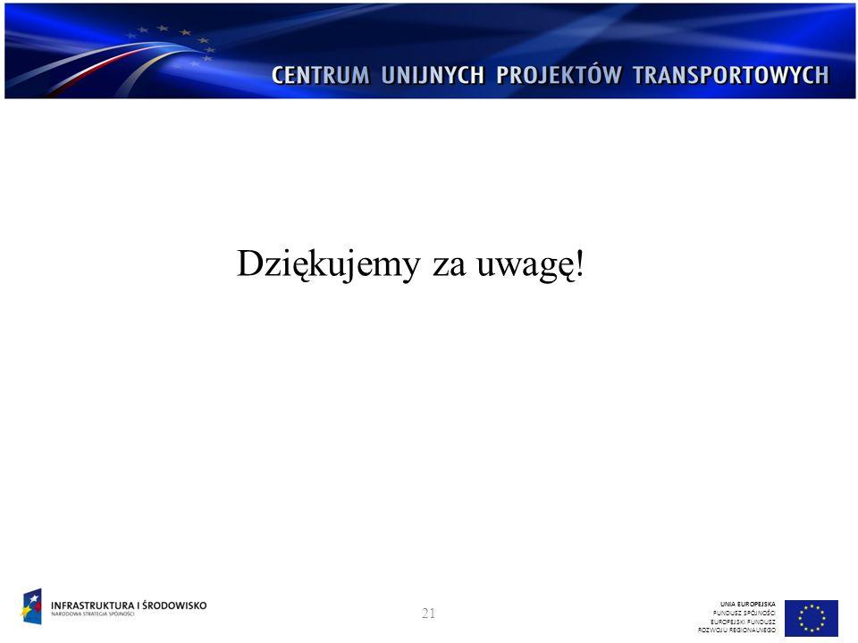 Dziękujemy za uwagę! UNIA EUROPEJSKA FUNDUSZ SPÓJNOŚCI EUROPEJSKI FUNDUSZ ROZWOJU REGIONALNEGO 21
