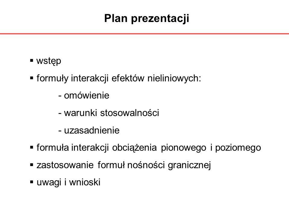 Plan prezentacji wstęp formuły interakcji efektów nieliniowych: - omówienie - warunki stosowalności - uzasadnienie formuła interakcji obciążenia piono