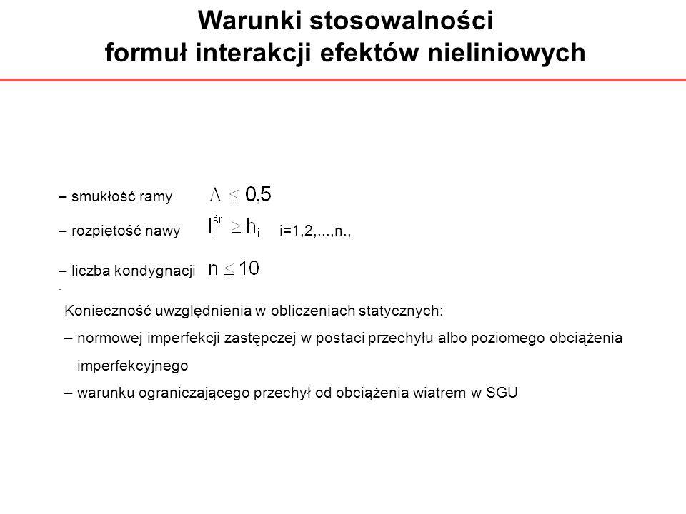 Warunki stosowalności formuł interakcji efektów nieliniowych – smukłość ramy – rozpiętość nawy i=1,2,...,n., – liczba kondygnacji. Konieczność uwzględ