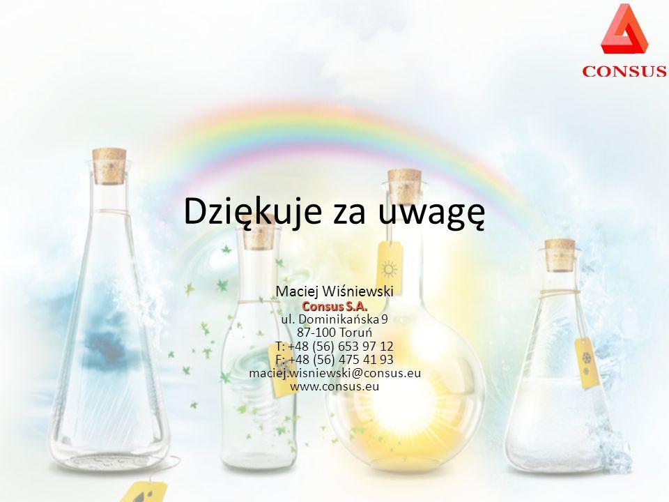 Dziękuje za uwagę Maciej Wiśniewski Consus S.A.ul.