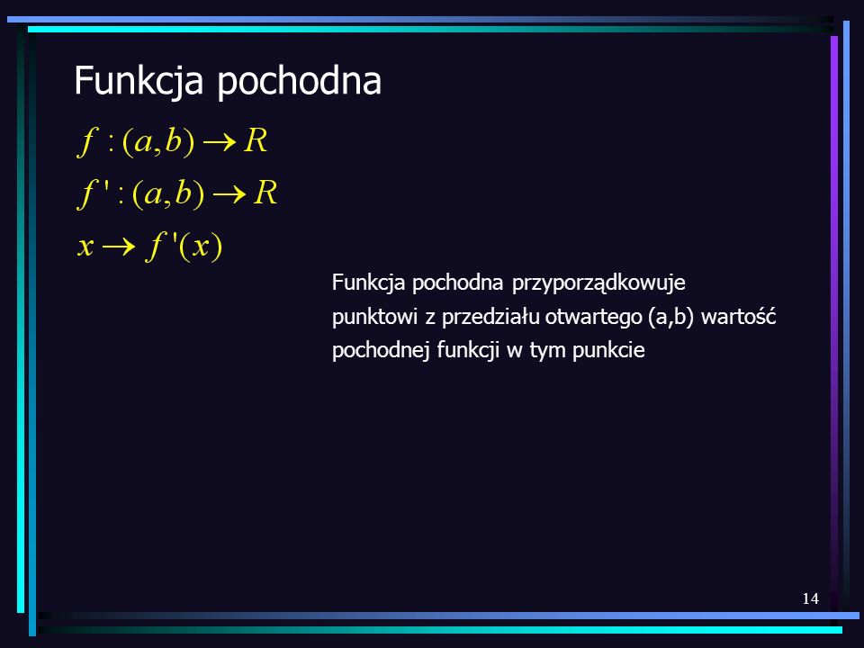 14 Funkcja pochodna Funkcja pochodna przyporządkowuje punktowi z przedziału otwartego (a,b) wartość pochodnej funkcji w tym punkcie