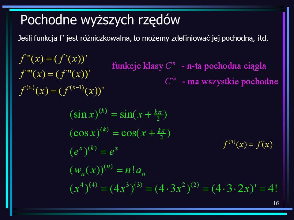 16 Pochodne wyższych rzędów Jeśli funkcja f jest różniczkowalna, to możemy zdefiniować jej pochodną, itd.