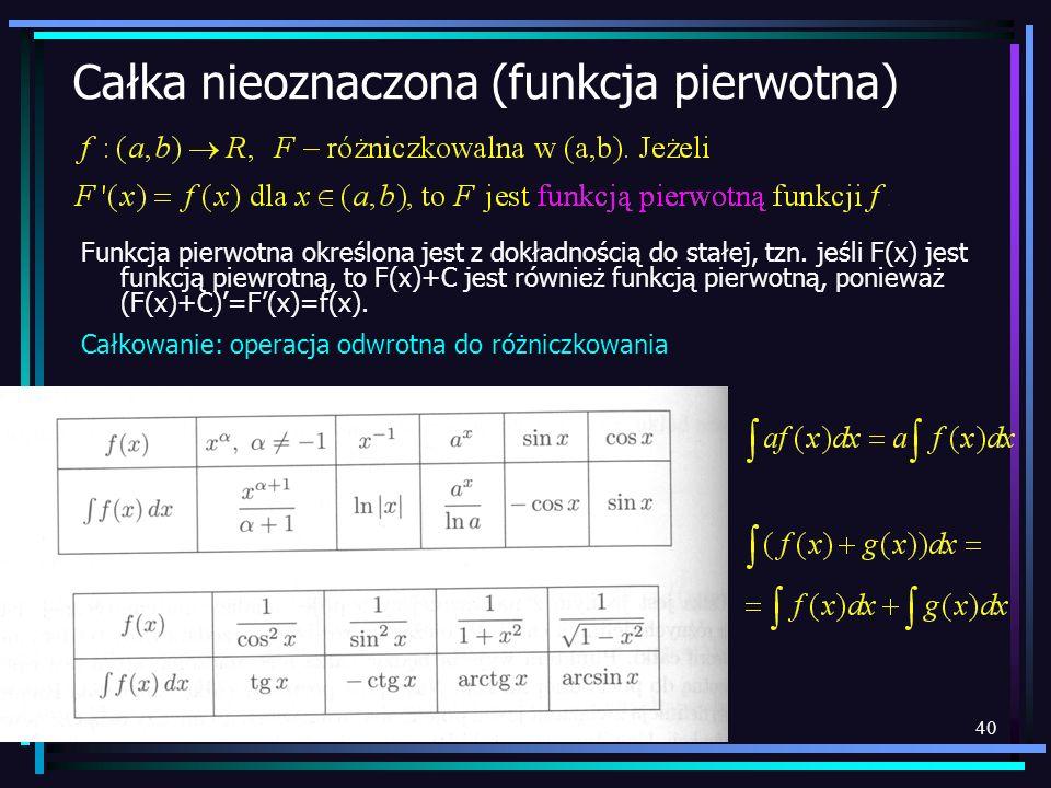 40 Całka nieoznaczona (funkcja pierwotna) Funkcja pierwotna określona jest z dokładnością do stałej, tzn. jeśli F(x) jest funkcją piewrotną, to F(x)+C