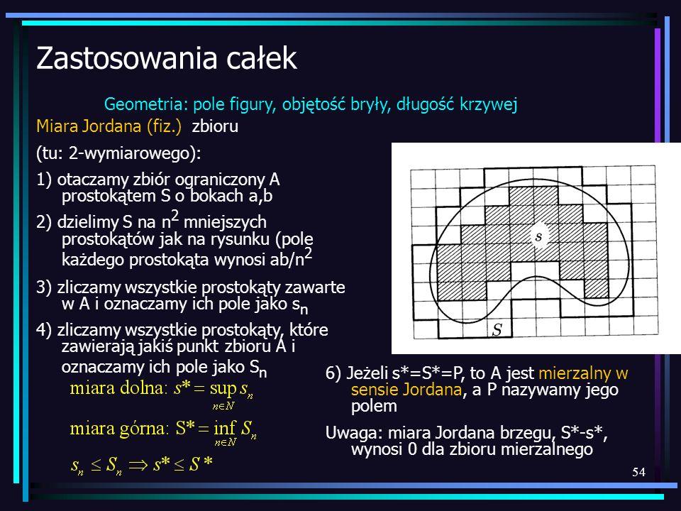 54 Zastosowania całek Geometria: pole figury, objętość bryły, długość krzywej Miara Jordana (fiz.) zbioru (tu: 2-wymiarowego): 1) otaczamy zbiór ogran