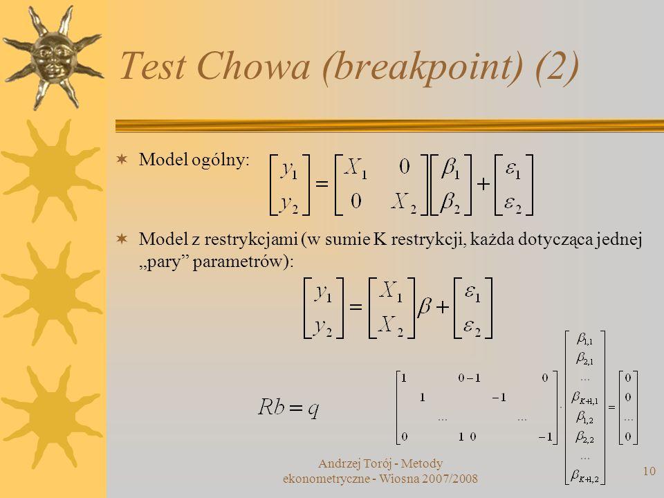 Andrzej Torój - Metody ekonometryczne - Wiosna 2007/2008 10 Test Chowa (breakpoint) (2) Model ogólny: Model z restrykcjami (w sumie K restrykcji, każd