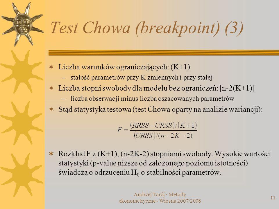 Andrzej Torój - Metody ekonometryczne - Wiosna 2007/2008 11 Test Chowa (breakpoint) (3) Liczba warunków ograniczających: (K+1) –stałość parametrów prz