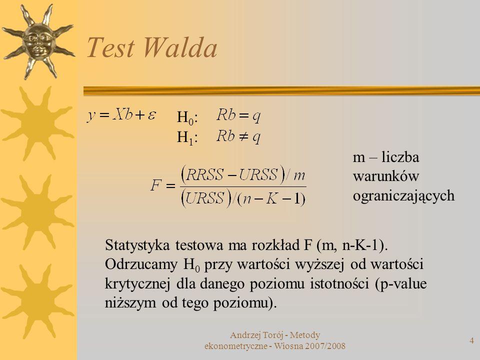 Andrzej Torój - Metody ekonometryczne - Wiosna 2007/2008 4 Test Walda H0:H0: H1:H1: m – liczba warunków ograniczających Statystyka testowa ma rozkład