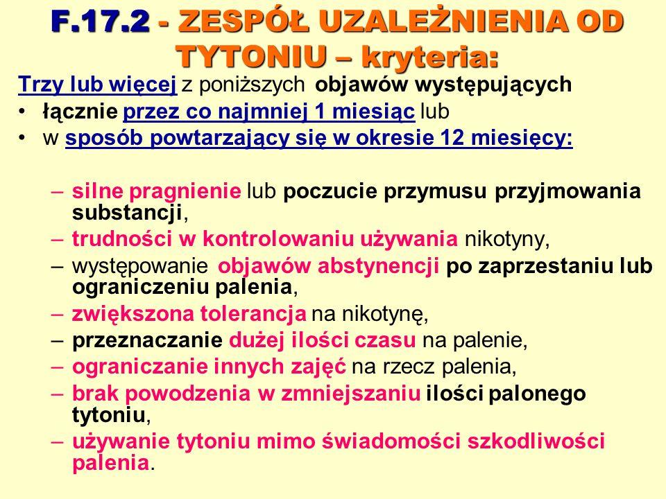F.17.2 - ZESPÓŁ UZALEŻNIENIA OD TYTONIU – kryteria: Trzy lub więcej z poniższych objawów występujących łącznie przez co najmniej 1 miesiąc lub w sposó