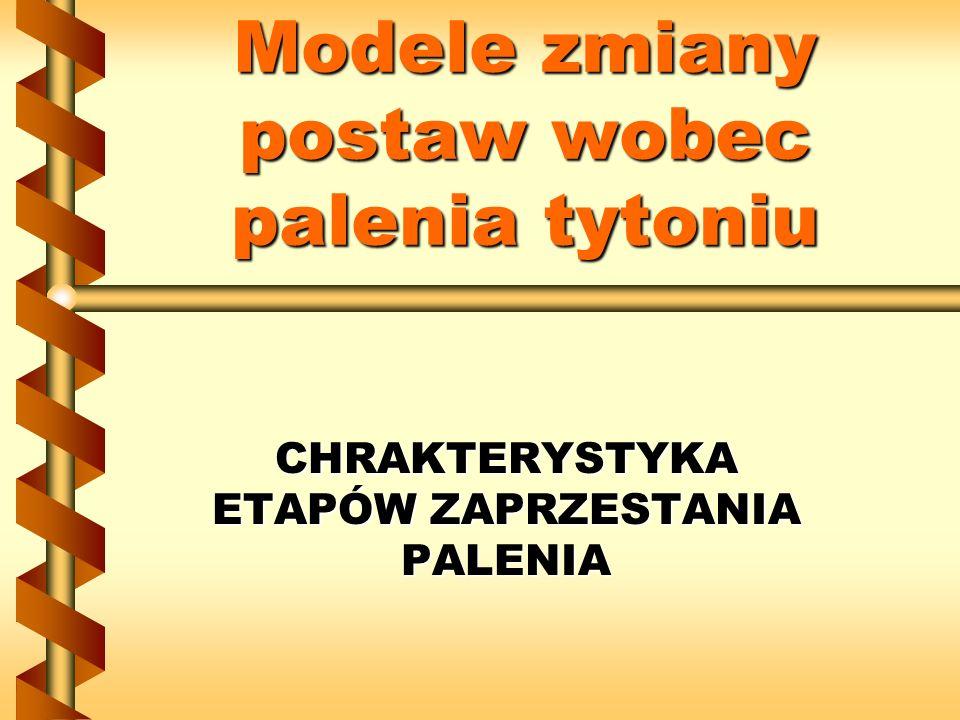 Modele zmiany postaw wobec palenia tytoniu CHRAKTERYSTYKA ETAPÓW ZAPRZESTANIA PALENIA