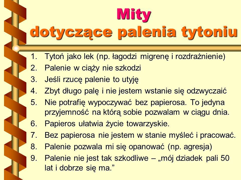 Mity dotyczące palenia tytoniu 1.Tytoń jako lek (np. łagodzi migrenę i rozdrażnienie) 2.Palenie w ciąży nie szkodzi 3.Jeśli rzucę palenie to utyję 4.Z