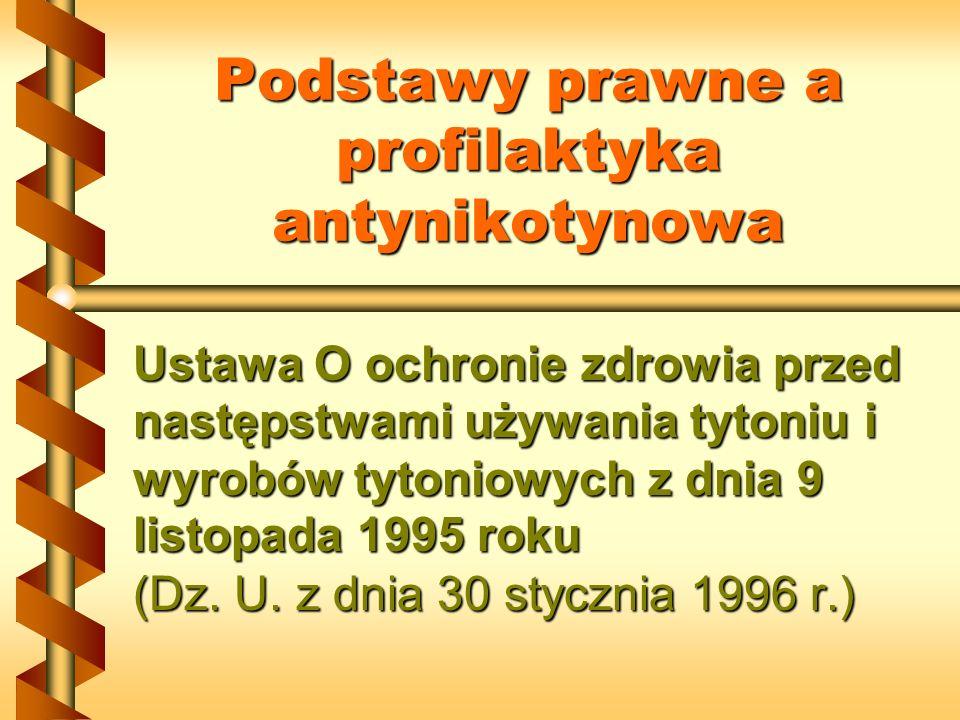 Podstawy prawne a profilaktyka antynikotynowa Ustawa O ochronie zdrowia przed następstwami używania tytoniu i wyrobów tytoniowych z dnia 9 listopada 1