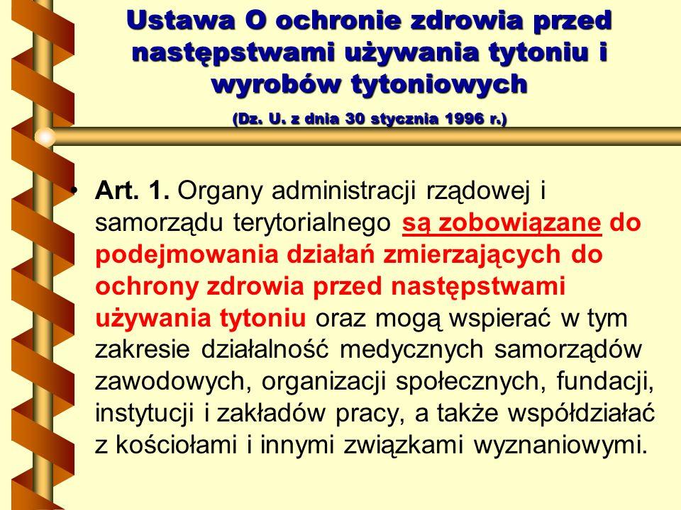 Ustawa O ochronie zdrowia przed następstwami używania tytoniu i wyrobów tytoniowych (Dz. U. z dnia 30 stycznia 1996 r.) Art. 1. Organy administracji r