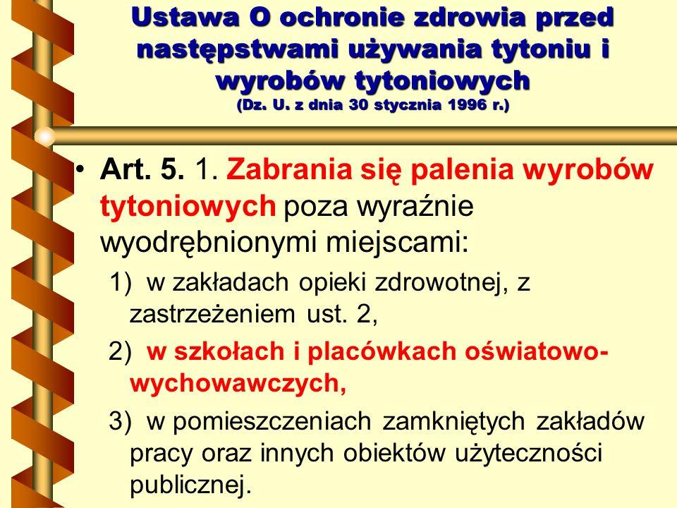 Art. 5. 1. Zabrania się palenia wyrobów tytoniowych poza wyraźnie wyodrębnionymi miejscami: 1) w zakładach opieki zdrowotnej, z zastrzeżeniem ust. 2,