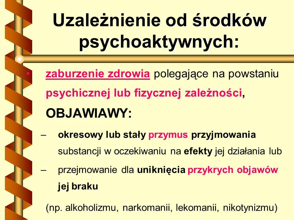 od środków psychoaktywnych Uzależnienie od środków psychoaktywnych: zaburzenie zdrowia polegające na powstaniu psychicznej lub fizycznej zależności, O