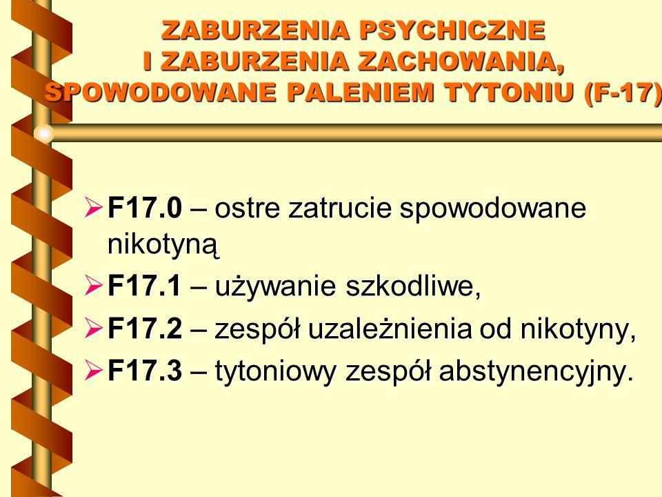 ZABURZENIA PSYCHICZNE I ZABURZENIA ZACHOWANIA, SPOWODOWANE PALENIEM TYTONIU (F-17) F17.0 – ostre zatrucie spowodowane nikotyną F17.0 – ostre zatrucie