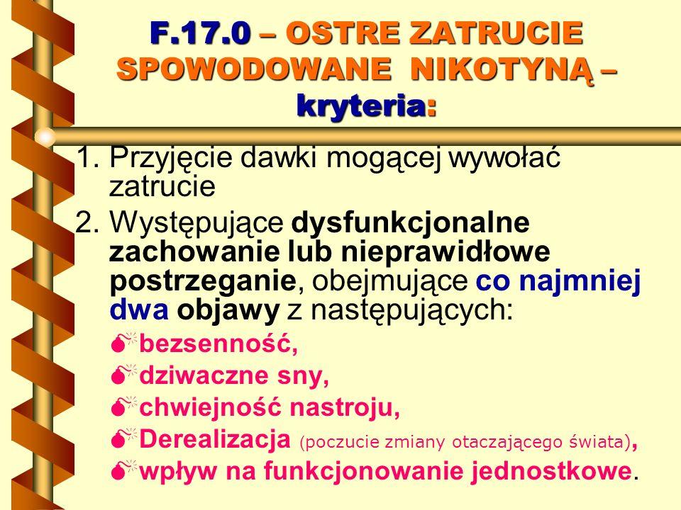 F.17.0 – OSTRE ZATRUCIE SPOWODOWANE NIKOTYNĄ – kryteria: 1. 1.Przyjęcie dawki mogącej wywołać zatrucie 2. 2.Występujące dysfunkcjonalne zachowanie lub