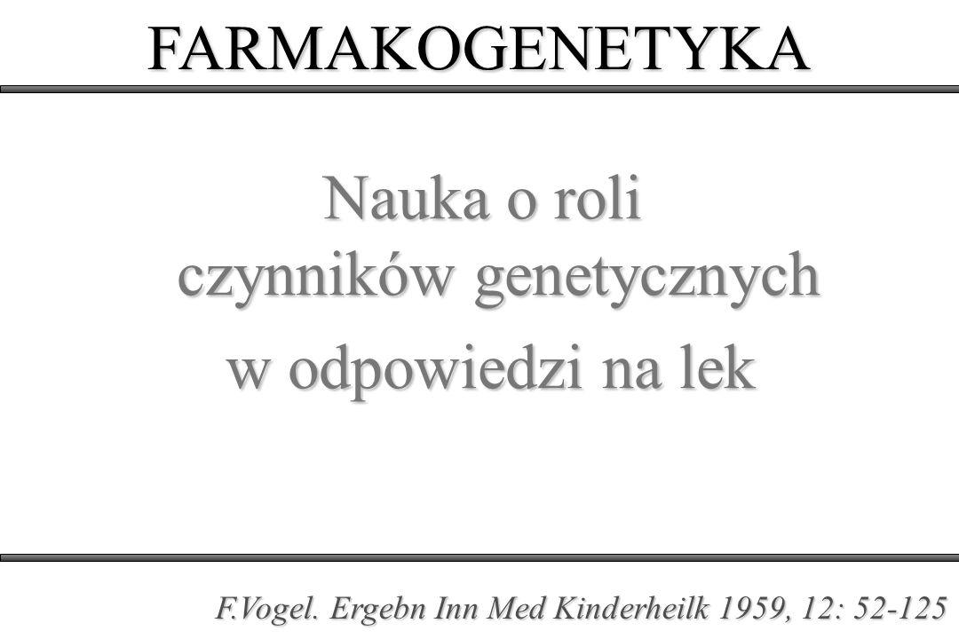 Nauka o roli czynników genetycznych w odpowiedzi na lek w odpowiedzi na lek FARMAKOGENETYKA F.Vogel. Ergebn Inn Med Kinderheilk 1959, 12: 52-125