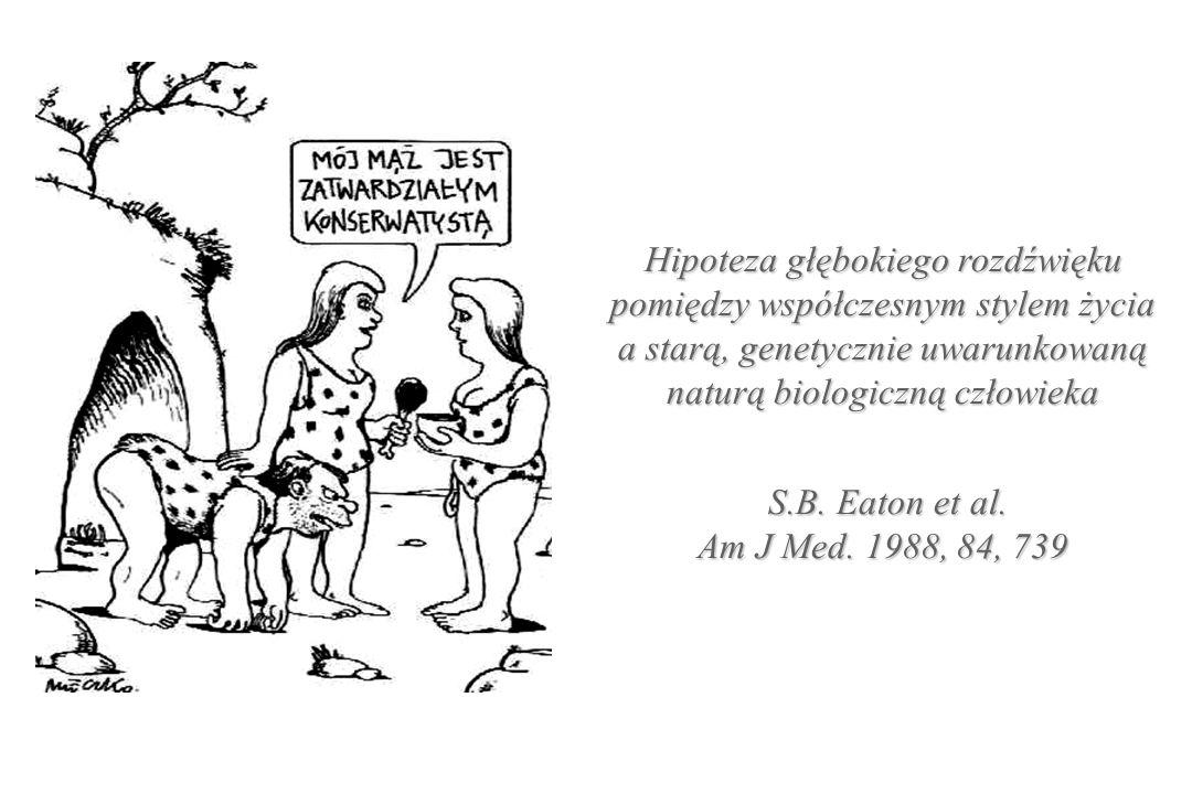 Hipoteza głębokiego rozdźwięku pomiędzy współczesnym stylem życia a starą, genetycznie uwarunkowaną naturą biologiczną człowieka S.B. Eaton et al. Am