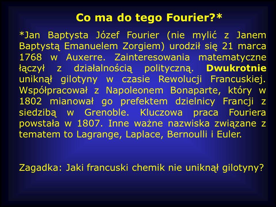 Co ma do tego Fourier?* *Jan Baptysta Józef Fourier (nie mylić z Janem Baptystą Emanuelem Zorgiem) urodził się 21 marca 1768 w Auxerre. Zainteresowani