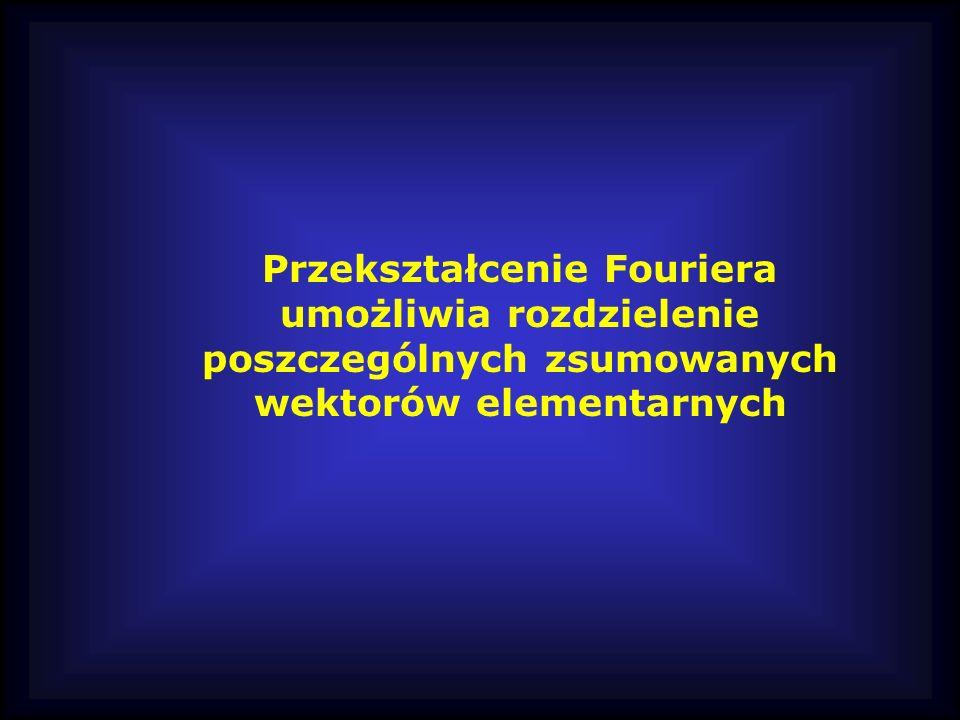 Przekształcenie Fouriera umożliwia rozdzielenie poszczególnych zsumowanych wektorów elementarnych