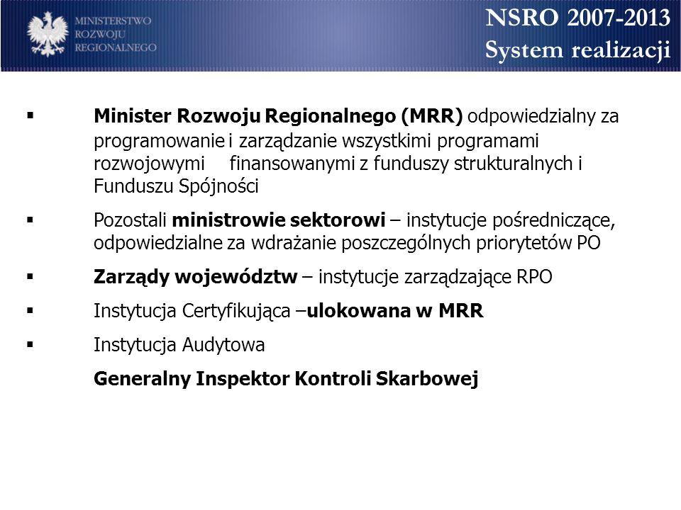 NSRO 2007-2013 System realizacji Minister Rozwoju Regionalnego (MRR) odpowiedzialny za programowanie i zarządzanie wszystkimi programami rozwojowymi f