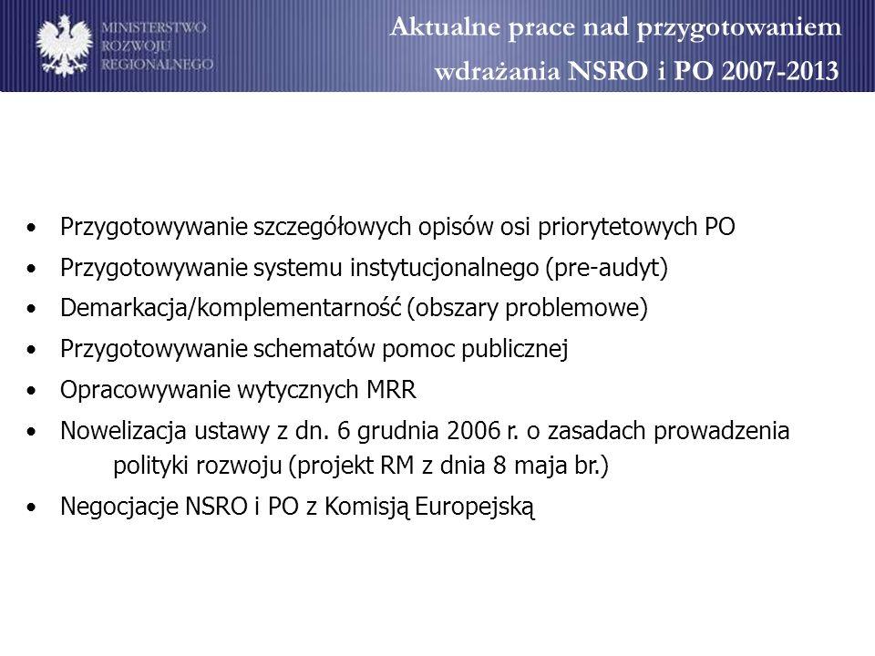 Aktualne prace nad przygotowaniem wdrażania NSRO i PO 2007-2013 Przygotowywanie szczegółowych opisów osi priorytetowych PO Przygotowywanie systemu ins