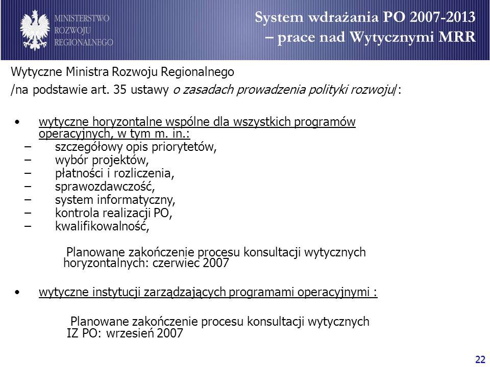 22 Wytyczne Ministra Rozwoju Regionalnego /na podstawie art. 35 ustawy o zasadach prowadzenia polityki rozwoju/: wytyczne horyzontalne wspólne dla wsz