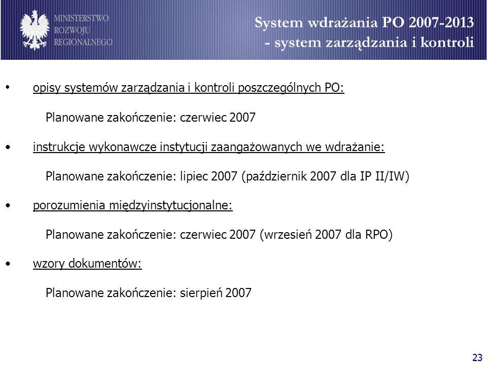 23 System wdrażania PO 2007-2013 - system zarządzania i kontroli opisy systemów zarządzania i kontroli poszczególnych PO: Planowane zakończenie: czerw