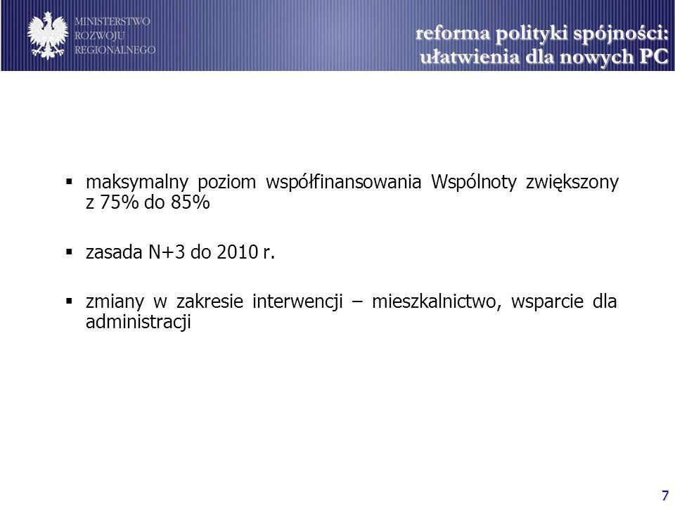 7 reforma polityki spójności: ułatwienia dla nowych PC maksymalny poziom współfinansowania Wspólnoty zwiększony z 75% do 85% zasada N+3 do 2010 r. zmi