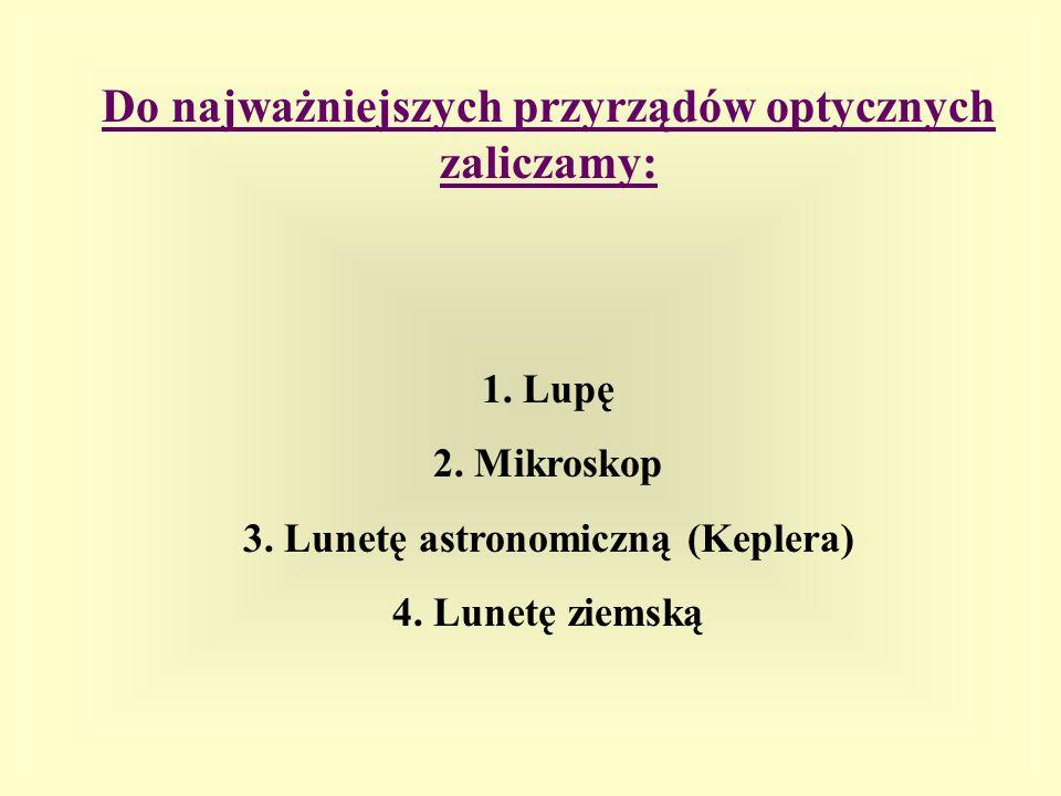 Do najważniejszych przyrządów optycznych zaliczamy: 1. Lupę 2. Mikroskop 3. Lunetę astronomiczną (Keplera) 4. Lunetę ziemską