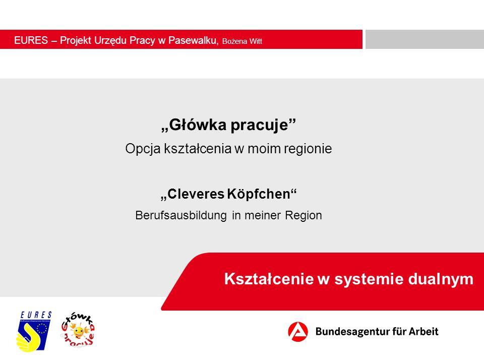 Kształcenie w systemie dualnym Złocieniec, 18 kwietnia 2012 Główka pracuje Opcja kształcenia w moim regionie Cleveres Köpfchen Berufsausbildung in mei