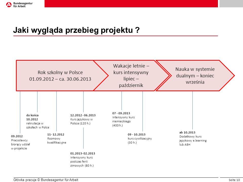 Seite 10 Główka pracuje © Bundesagentur für Arbeit Jaki wygląda przebieg projektu ? Rok szkolny w Polsce 01.09.2012 – ca. 30.06.2013 do końca 10.2012
