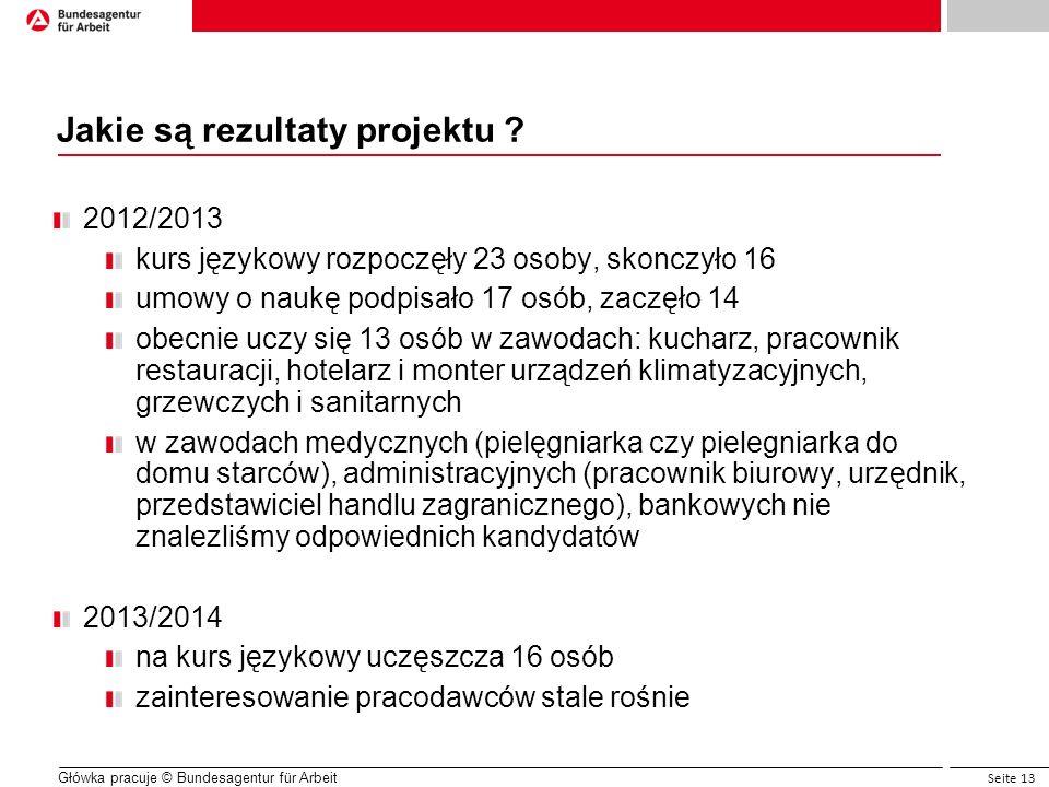 Seite 13 Główka pracuje © Bundesagentur für Arbeit Jakie są rezultaty projektu ? 2012/2013 kurs językowy rozpoczęły 23 osoby, skonczyło 16 umowy o nau