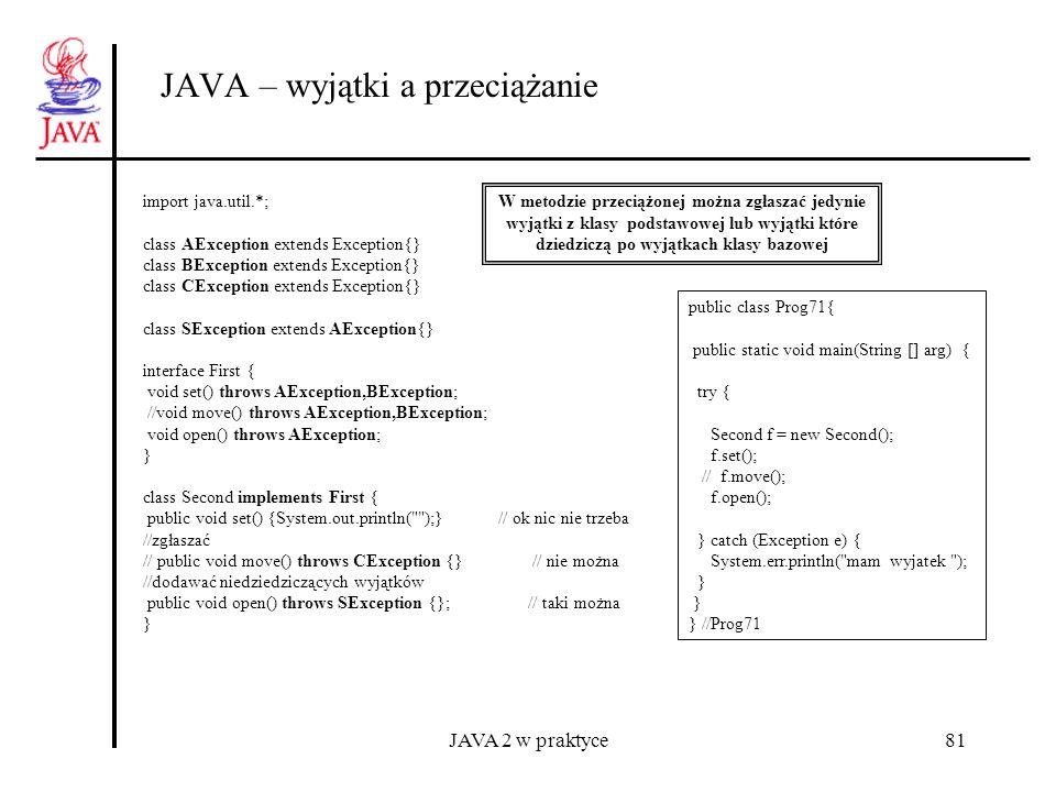 JAVA 2 w praktyce81 JAVA – wyjątki a przeciążanie W metodzie przeciążonej można zgłaszać jedynie wyjątki z klasy podstawowej lub wyjątki które dziedzi