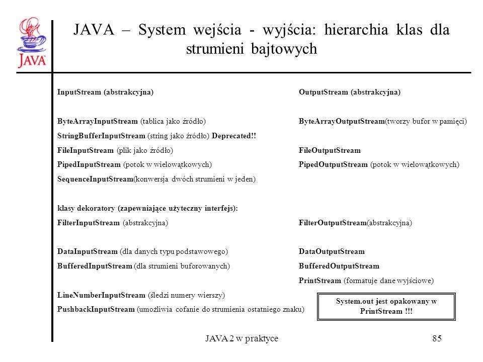 JAVA 2 w praktyce85 JAVA – System wejścia - wyjścia: hierarchia klas dla strumieni bajtowych InputStream (abstrakcyjna) OutputStream (abstrakcyjna) By