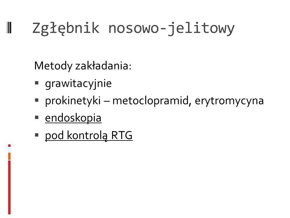 Zgłębnik nosowo-jelitowy Metody zakładania: grawitacyjnie prokinetyki – metoclopramid, erytromycyna endoskopia pod kontrolą RTG