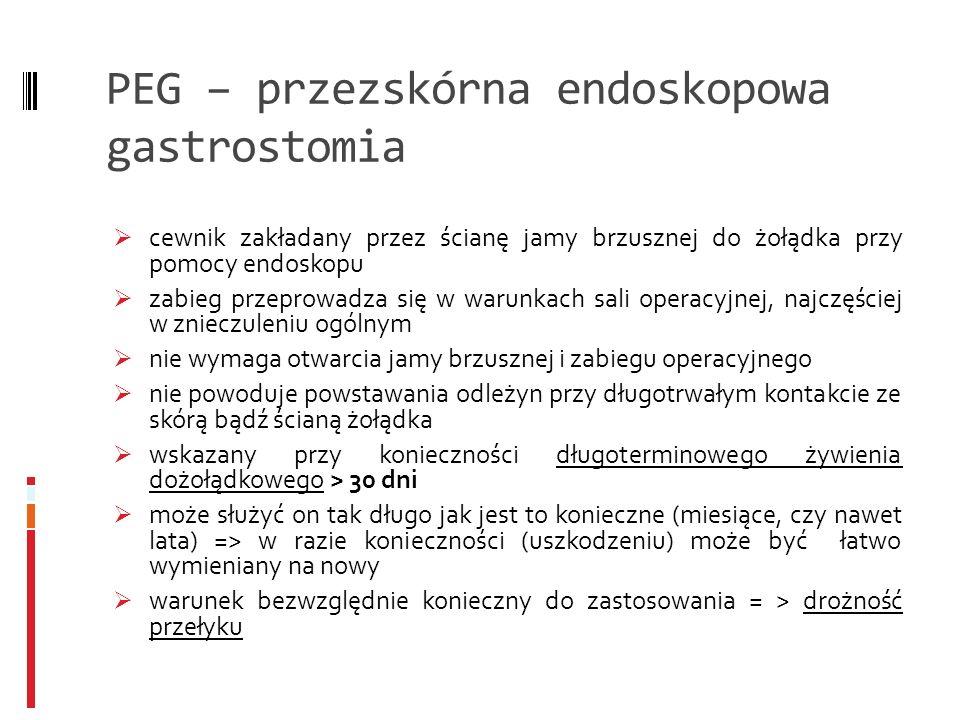 PEG – przezskórna endoskopowa gastrostomia cewnik zakładany przez ścianę jamy brzusznej do żołądka przy pomocy endoskopu zabieg przeprowadza się w war