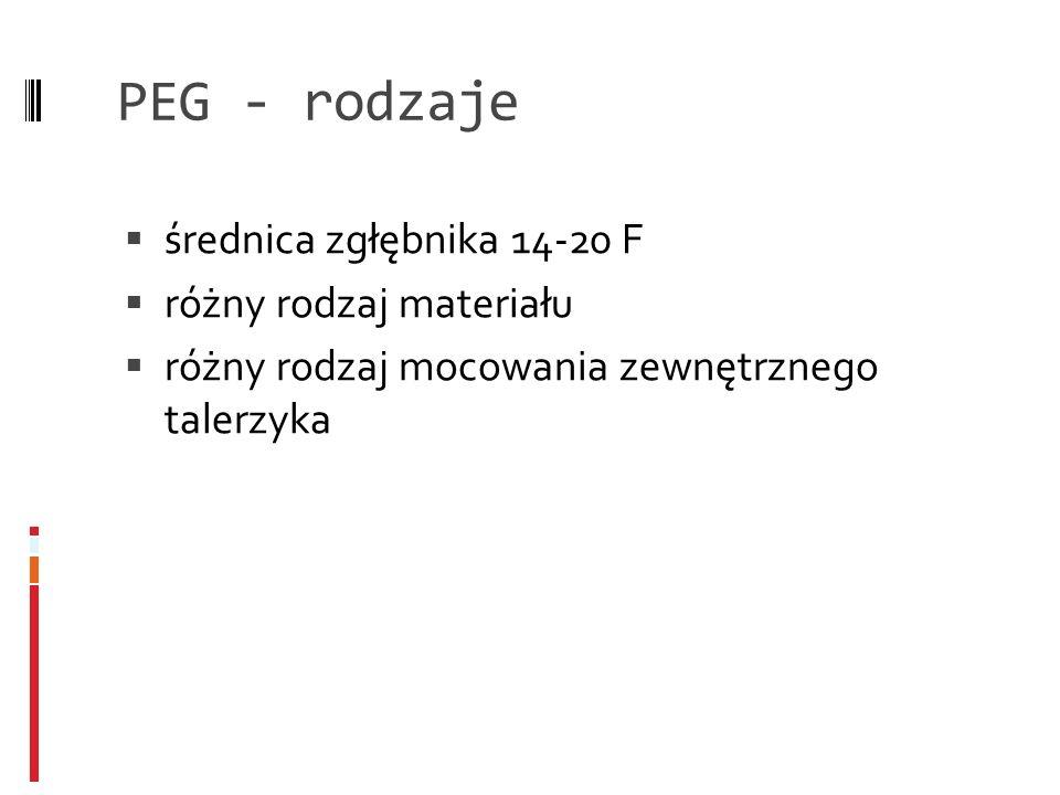 PEG - rodzaje średnica zgłębnika 14-20 F różny rodzaj materiału różny rodzaj mocowania zewnętrznego talerzyka