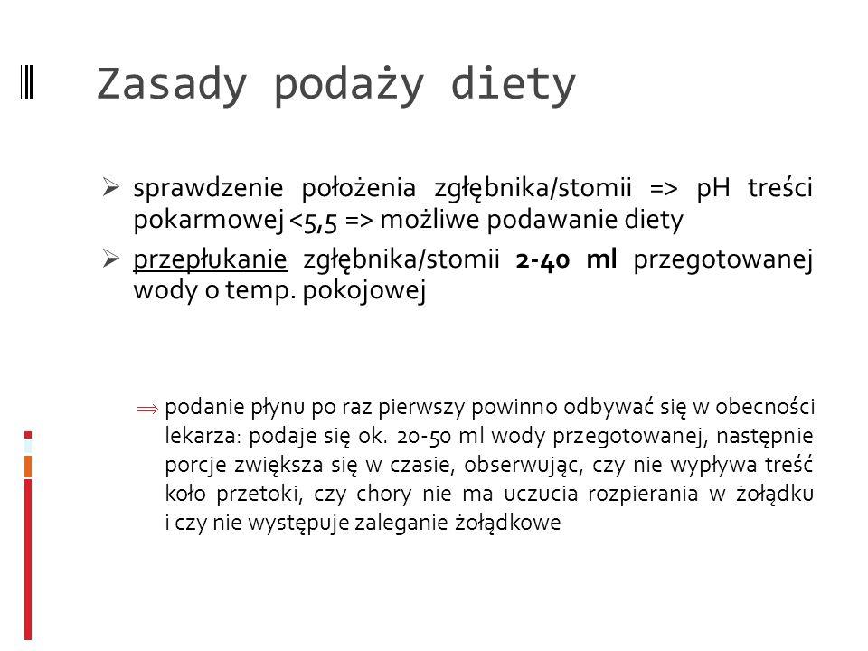 Zasady podaży diety sprawdzenie położenia zgłębnika/stomii => pH treści pokarmowej możliwe podawanie diety przepłukanie zgłębnika/stomii 2-40 ml przeg