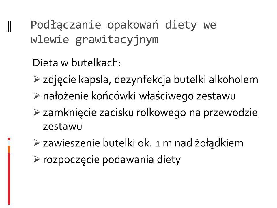 Podłączanie opakowań diety we wlewie grawitacyjnym Dieta w butelkach: zdjęcie kapsla, dezynfekcja butelki alkoholem nałożenie końcówki właściwego zest